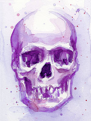 Skull Painting - Pink Purple Skull by Olga Shvartsur