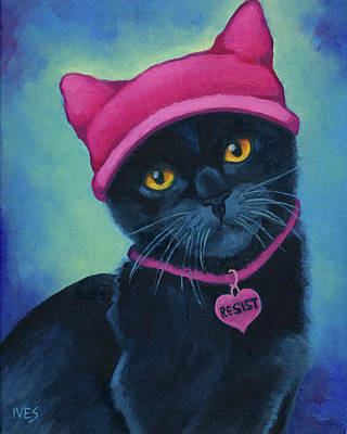 Painting - Pink Pussy Hat Black Cat RESIST by Rebecca Ives