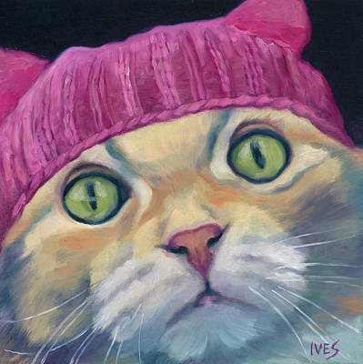 Painting - Pink Pussy Hat Maine Coon Cat by Rebecca Ives