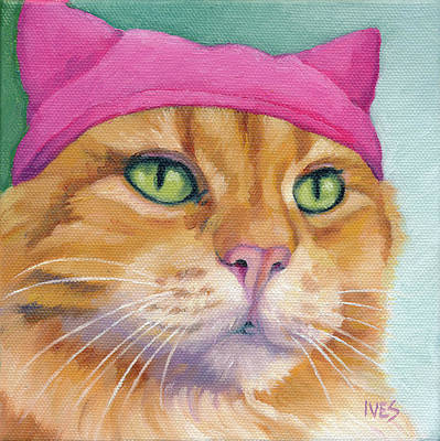 Painting - Pink PussyHat Ginger Cat by Rebecca Ives