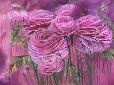 Mixed Media - Pink Ranunculus by Carol Cavalaris