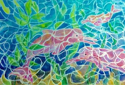 Painting - Amazon River Dolphins - Pink by Ellen Levinson