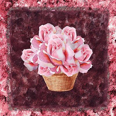 Painting - Pink Rose Basket by Irina Sztukowski