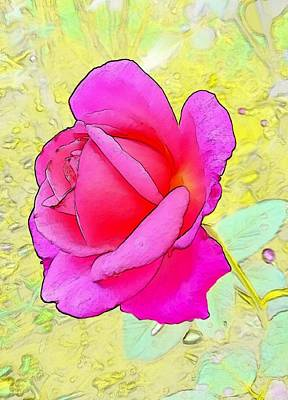 Flower Digital Art - Pink Rose by Kumiko Izumi