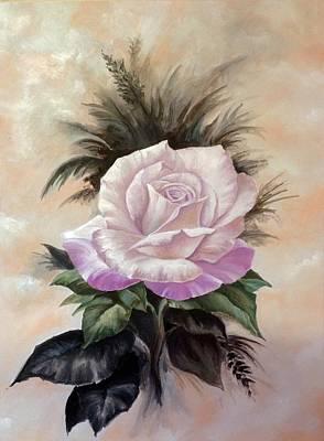 Painting - Pink Rose by Art By Three Sarah Rebekah Rachel White