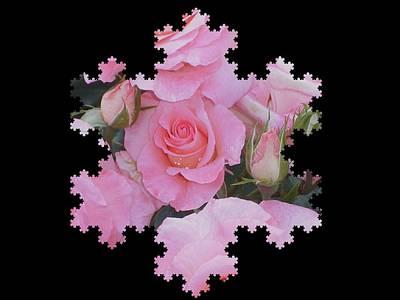 Digital Art - Pink Rosebud by Nancy Pauling