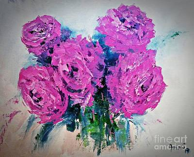 Painting - Pink Roses by AmaS Art