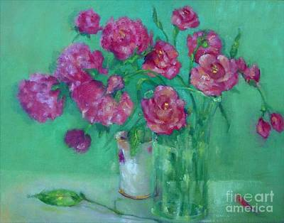 Pink Roses And Peonies         Copyrighted Art Print by Kathleen Hoekstra