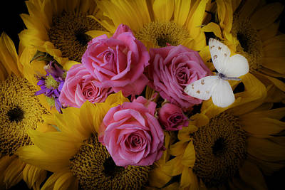 Pink Roses And Sunflowers Art Print by Garry Gay