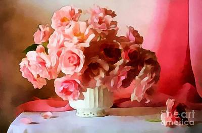 Painting - Pink Roses Floral Still Life  by Catherine Lott