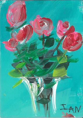 Painting - Pink Roses by Ian Reynolds