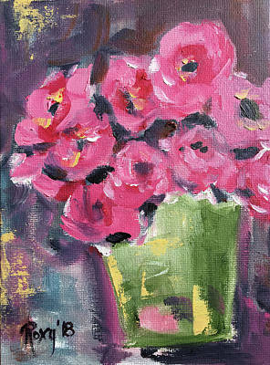 Pink Painting - Pink Roses In A Green Bucket by Roxy Rich