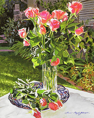 Cut Flowers Painting -  Pink Roses In Glass by David Lloyd Glover