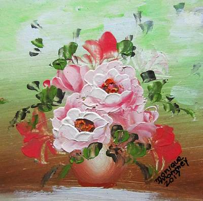 Painting - Pink Roses In Vase by Monique Montney