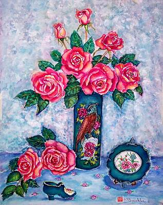 Pink Roses Art Print by Norma Boeckler