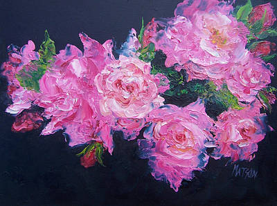 Black Background Painting - Pink Roses Oil Painting by Jan Matson
