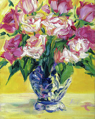 Pink Roses In Blue Deft Vase Art Print