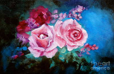 Pink Roses On Blue Art Print by Jenny Lee