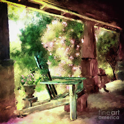 Digital Art - Pink Roses On The Porch by Lois Bryan