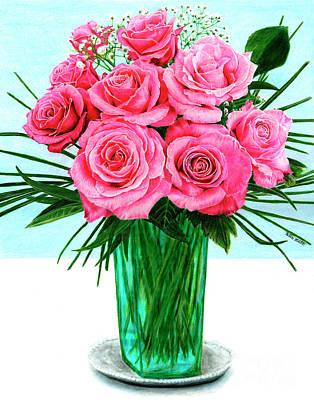 Drawing - Pink Roses by Peter Piatt