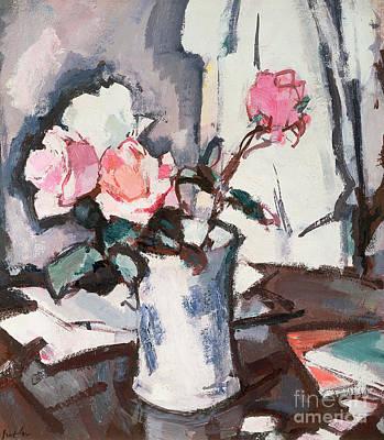 Water Jug Painting - Pink Roses by Samuel John Peploe