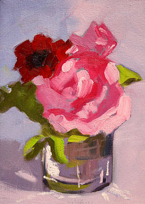 Painting - Pink Roses Still Life Painting 2 by Nancy Merkle
