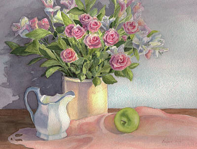Pitcher With Flowers Painting - Pink Roses by Vikki Bouffard
