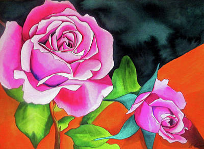 Painting - Pink Roses With Orange by Sacha Grossel