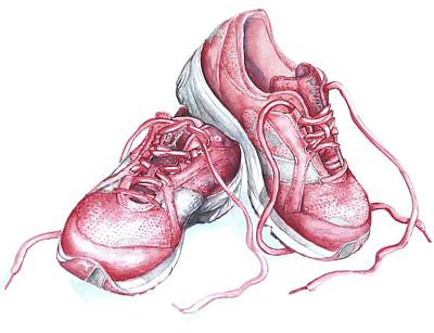 Painting - Pink Running Shoes by Heidi Kriel