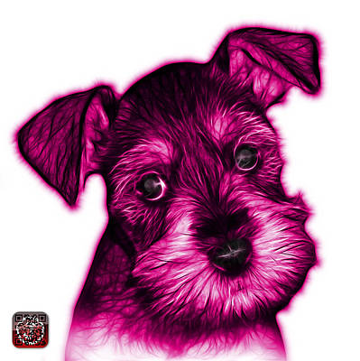 Digital Art - Pink Salt And Pepper Schnauzer Puppy 7206 Fs by James Ahn