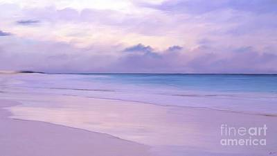 Pink Sand Purple Clouds Beach Art Print