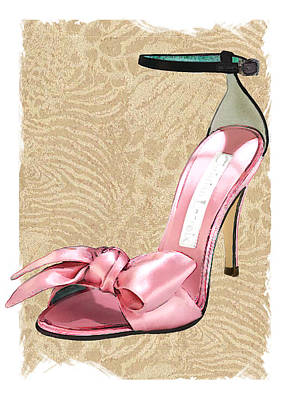 Stilettos Painting - Pink Satin Ankle Straps On Safari by Elaine Plesser