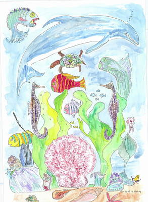 Pink Scalop Sea Creatures Art Print