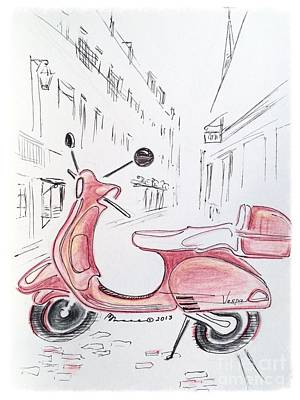 Pink Scooter Art Print by Barbara Chase