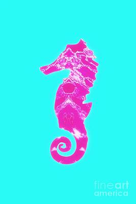 Mixed Media - Pink Seahorse Left Facing by Rachel Hannah