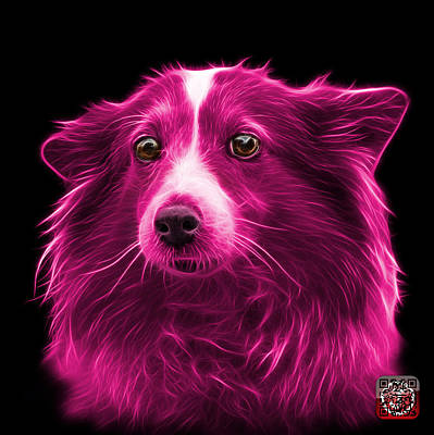 Mixed Media - Pink Shetland Sheepdog Dog Art 9973 - Bb by James Ahn