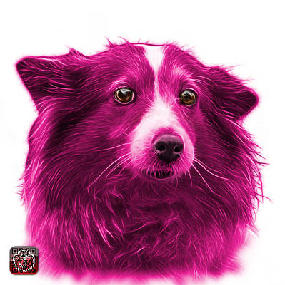 Mixed Media - Pink Shetland Sheepdog Dog Art 9973 - Wb by James Ahn
