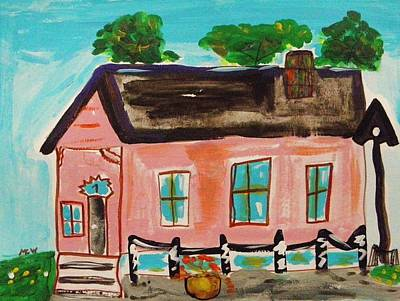 Painting - Pink Shotgun House by Mary Carol Williams