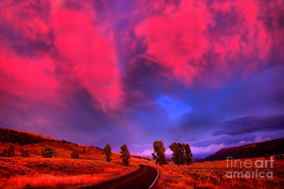 Photograph - Pink Skies Over Lamar Valley Road by Adam Jewell