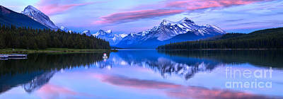 Photograph - Pink Skies Over Malligne Lake Panorama by Adam Jewell
