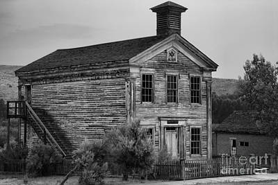Photograph - Pink Skies Over The Bannack School House Black And White by Adam Jewell