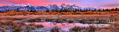 Photograph - Pink Skies Over The Tetons Panorama by Adam Jewell