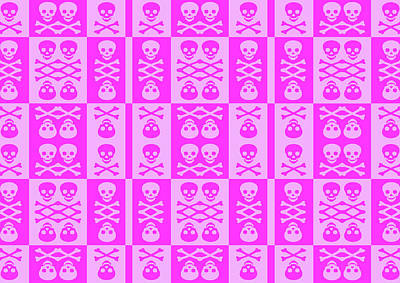Digital Art - Pink Skull And Crossbones Pattern by Roseanne Jones