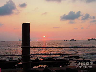 Photograph - Pink Sky Blue Clouds Hawaii Waterfront Sunset by Expressionistart studio Priscilla Batzell