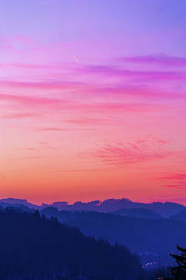 Photograph - Pink Sky Over Blue Mountains by Jenny Rainbow