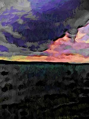 Digital Art - Pink Sky With Lavender Clouds And The Dark Sea by Jackie VanO