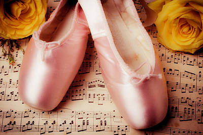 Pink Slippers And Roses Art Print
