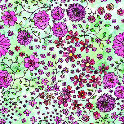 Painting - Pink Small Flowers by Aloke Creative Store
