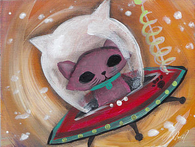 Pop Surrealism Painting - Pink Space Cat by Abril Andrade Griffith