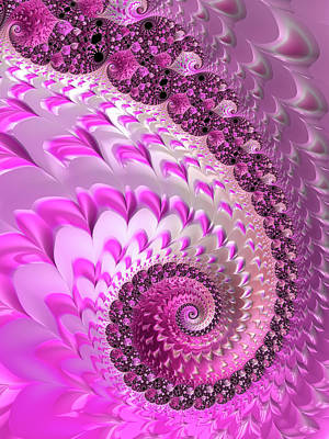 Digital Art - Pink Spiral With Lovely Hearts by Matthias Hauser